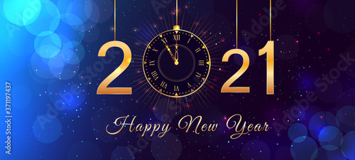 Obraz Happy New Year 2021 blue background with bokeh effect, hanging golden numbers, gold vintage clock and lights. Happy New Year 2021 holiday background, poster or greeting card with happy new year text. - fototapety do salonu
