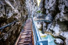 Famous Hoellental Canyon Near Zugspitze Mountain In Bavaria