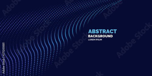 Vector abstract background with dynamic waves, line and particles Wallpaper Mural
