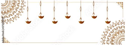 hanging diya lamp on white banner design Fototapet