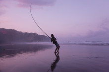 21 May 2008, Parangtritis, Indonesia: Fishing On Parangtritis Beach Near Yogyakarta, Indonesia.