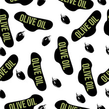 """Seamless Pattern With The Text """"Olive Oil"""" And Olives On A White Background. Print Of Olives And Text"""
