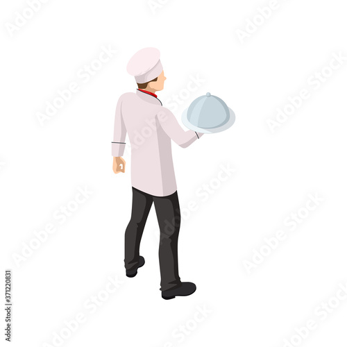 Isometric male chef isolated on white. Chef in uniform cooking in a commercial kitchen. Wall mural