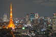 Cityscape at night in Tokyo, Japan