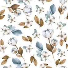 Hand Painted Watercolor Seamless Pattern Of Winter Flowers Of Cotton, Berries, Leaves And Branches. Illustration Isolated On White