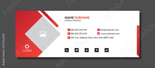 Obraz Corporate Email signature with an author photo place modern and minimalist layout - fototapety do salonu