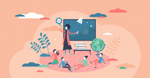 Kids Class With Teachers Lesson For Knowledge Education Tiny Person Concept
