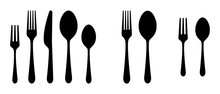Vector Cutlery Set. Fork, Knife. Flat Style.