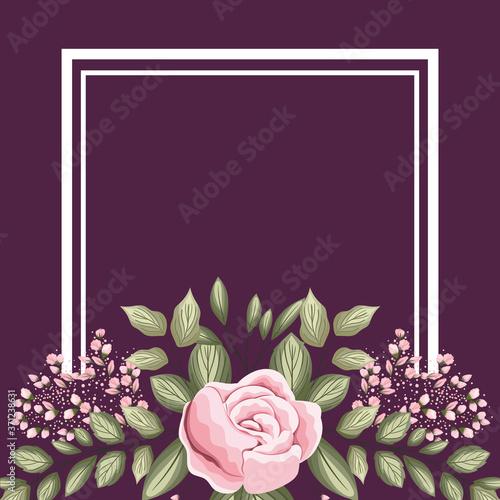 frame with pink rose flower buds and leaves painting design, natural floral natu Tapéta, Fotótapéta