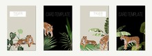 Poster Or Card Template Set Of Tigers And Tropical Leaves. Trendy Illustration.