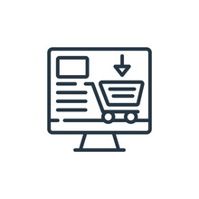 Add To Cart Icon Vector From Sales Concept. Thin Line Illustration Of Add To Cart Editable Stroke. Add To Cart Linear Sign For Use On Web And Mobile Apps, Logo, Print Media..