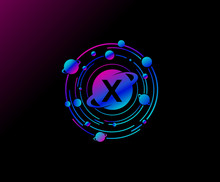 Orbit X Letter Design. Modern Planet With Line Of Orbit. Colorful Abstract Circle Geometry Planet Logo.