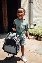 Boy Walking Backpack