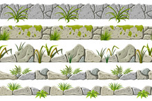 Set Of Seamless Old Gray Border With Grass, Leaves And Moss. Vector Stone Sidewalks For Computer Games Isolated On White Background.