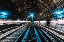 Blue Lights In Train Tunnel