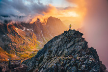 Man On The Top Of The Hill Watching Wonderful Scenery In Mountains During Summer Colorful Sunset In High Tatras In Slovakia..