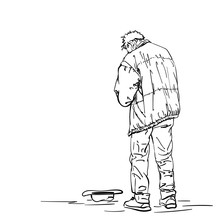 Drawing Of Man Old Beggar Is Begging With Hat On Ground. Hand Drawn Linear Illustration Vector Sketch. View From Back