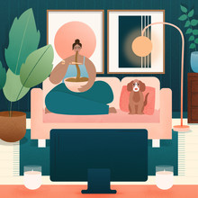 Illustration Of A Woman And Dog Eating Takeaway Watching Tv.