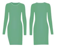 Green Woman Dress. Vector Illustration
