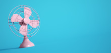 Pink Electric Fan On Blue Background