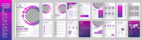Obraz na plátne 16 page Multipurpose Brochure template, simple style and modern layout, Elemen