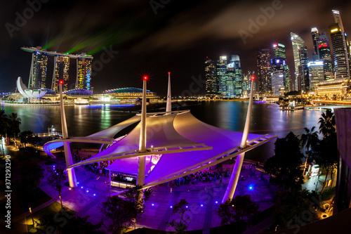 Singapore's vibrant urban skyline at night on the esplanade by the Marina Bay