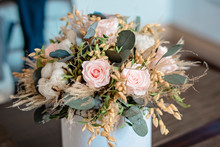 Long Lasting Flowers Decoration. Preserved Roses Bouquet Closeup. Selective Focus On Home Decoration Made Of Decorative Plants. Eternal, Stabilized, Forever Rose Flower.