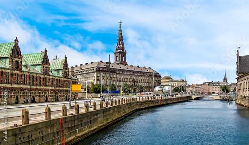 Obraz na plátně A view along the Slotsholmen islet towards the parliament building in Copenhagen