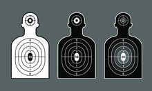 Human Silhouette Three Targets White Black And Grey, For Shooting Practice. Vector Illustration.
