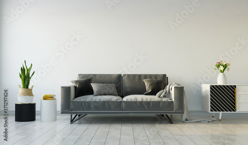 Living room interior with gray sofa on gray empty wall, 3d rendering Tableau sur Toile