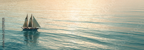sailboat sailing in the sea Fototapeta