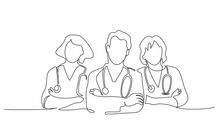 Group Team Of Doctors Therapist. Minimalistic Design Of Medical People