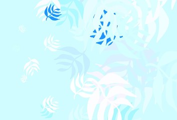 Fototapeta na wymiar Light BLUE vector doodle pattern with leaves.