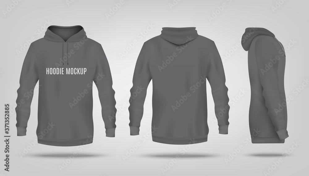 Fototapeta Realistic grey hoodie mockup with text template from front, back and side view