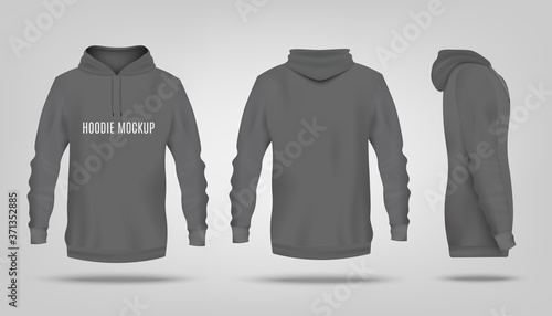 Fotografía Realistic grey hoodie mockup with text template from front, back and side view