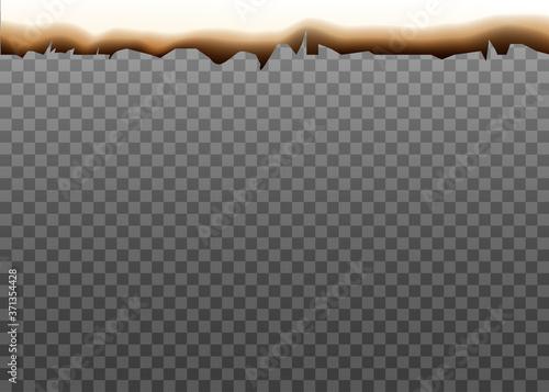 Obraz na plátně Burnt edge of white paper isolated on transparent background