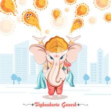 Ganesha. Vighnaharta Ganesh. Ganesha Coming To Protect Us With Her Power Illustration Vector