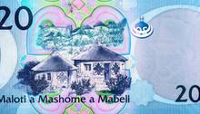 Basotho Huts. Portrait From Lesotho 20 Maloti 2010 . Banknotes.