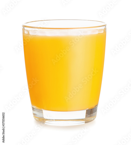 Fotografie, Obraz Glass of fresh orange juice on white background