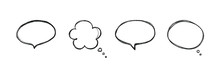 Set, Collection Of Black Hand Drawn, Doodle Speech Bubbles, Speech Balloons.