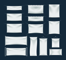 Set Of Realistic Banner With Folds . Isolated Vector Elements