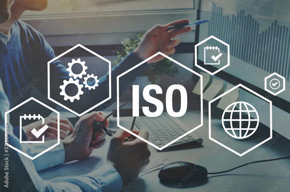 Fototapeta ISO standards quality control concept, assurance warranty