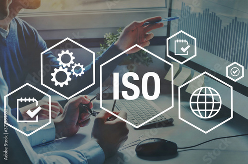 Leinwand Poster ISO standards quality control concept, assurance warranty
