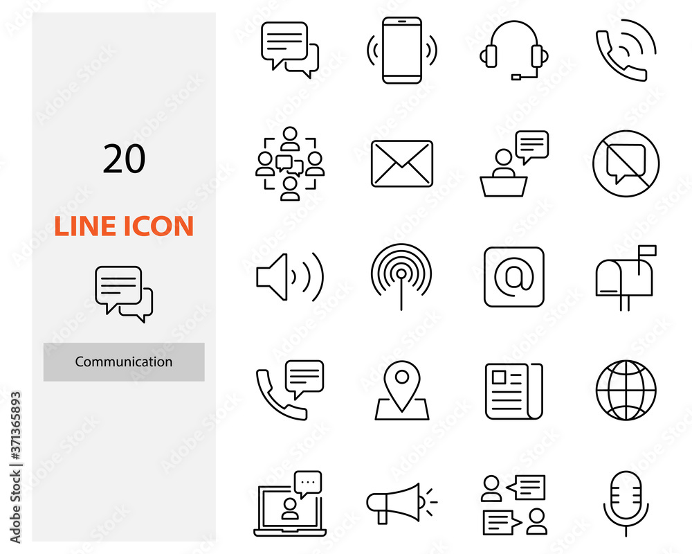 Fototapeta set of communication thin line icons, contact, video call