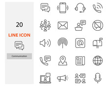 Set Of Communication Thin Line Icons, Contact, Video Call