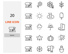 Set Of Season Thin Line Icons, Winter, Rainny, Summer, Autumn, Spring
