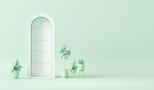 White Door And Plant Concept, ...