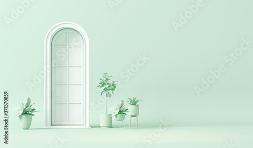 White door and plant concept, decorative vase  in plain monochrome pastel blue color. Light background with copy space. 3D rendering for web page, presentation or picture frame backgrounds, minimalist