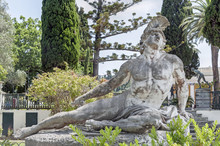 Statue Of Dying Achilles In The Gardens Of Achilleion Palace On Greek Corfu Island, Greece