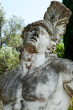 Dying Achilles Face Closeup In The Gardens In Achilleion Palace, Corfu, Greece